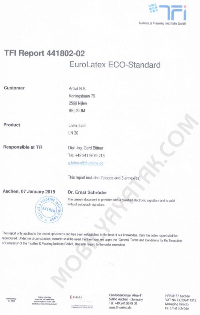 Doğal lateks euro latex eco standart sertifikası