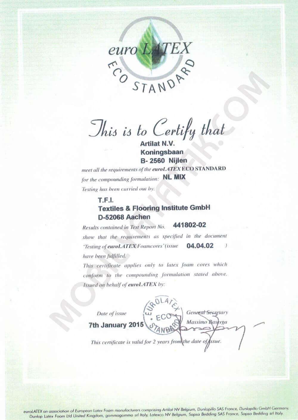 Euro lateks eco standart sertifikası