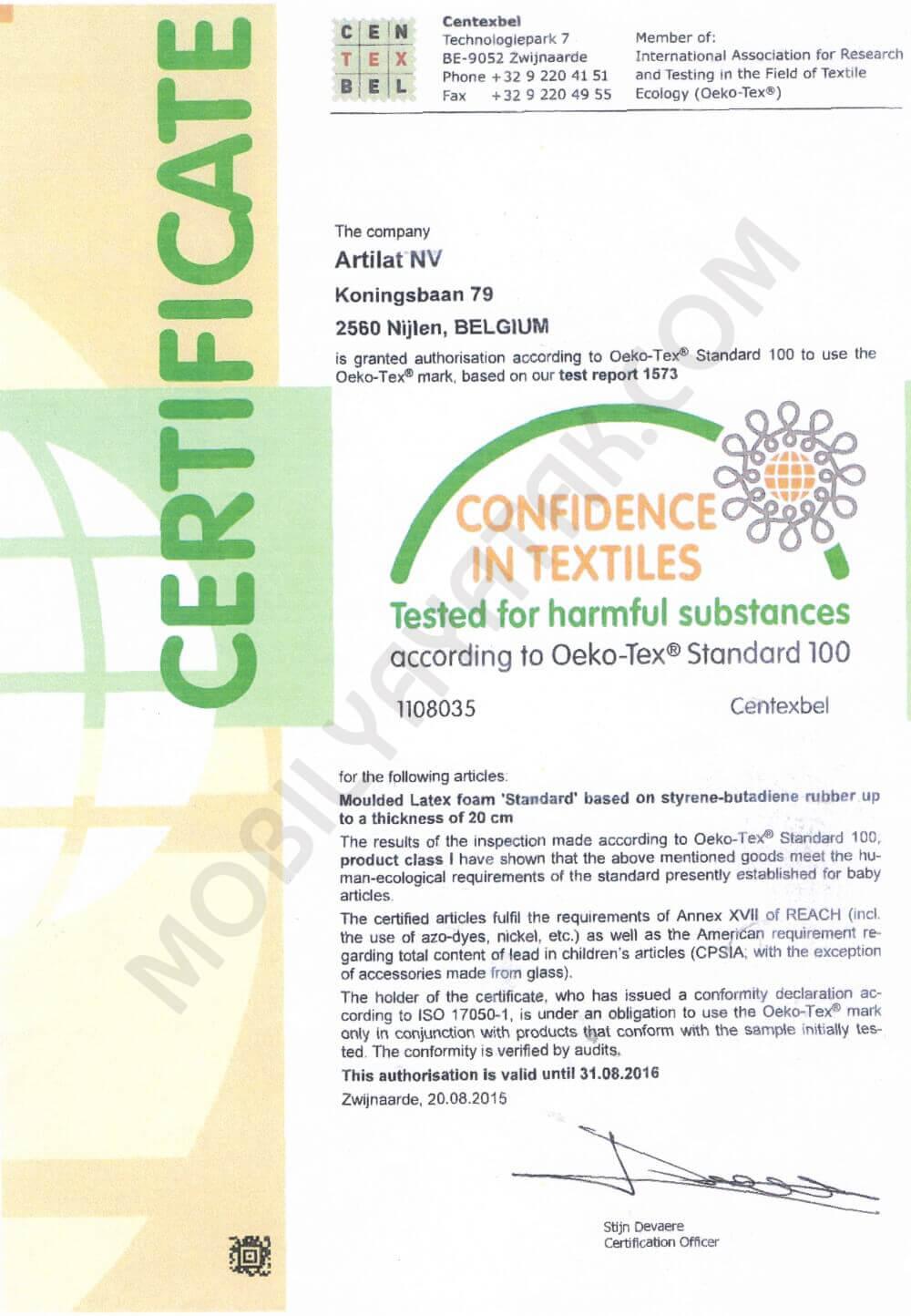 Oeko tex sertifikası