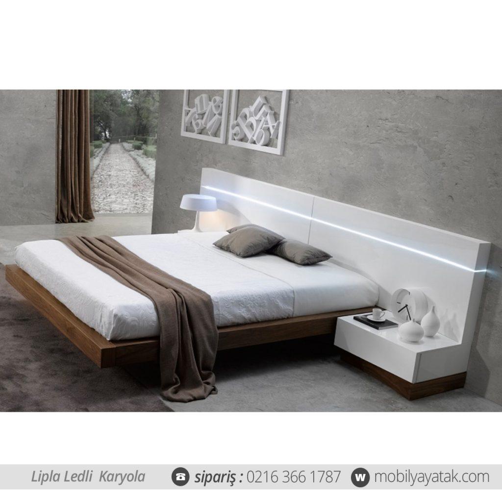 Lipla led ışıklı yatak başlığı karyola