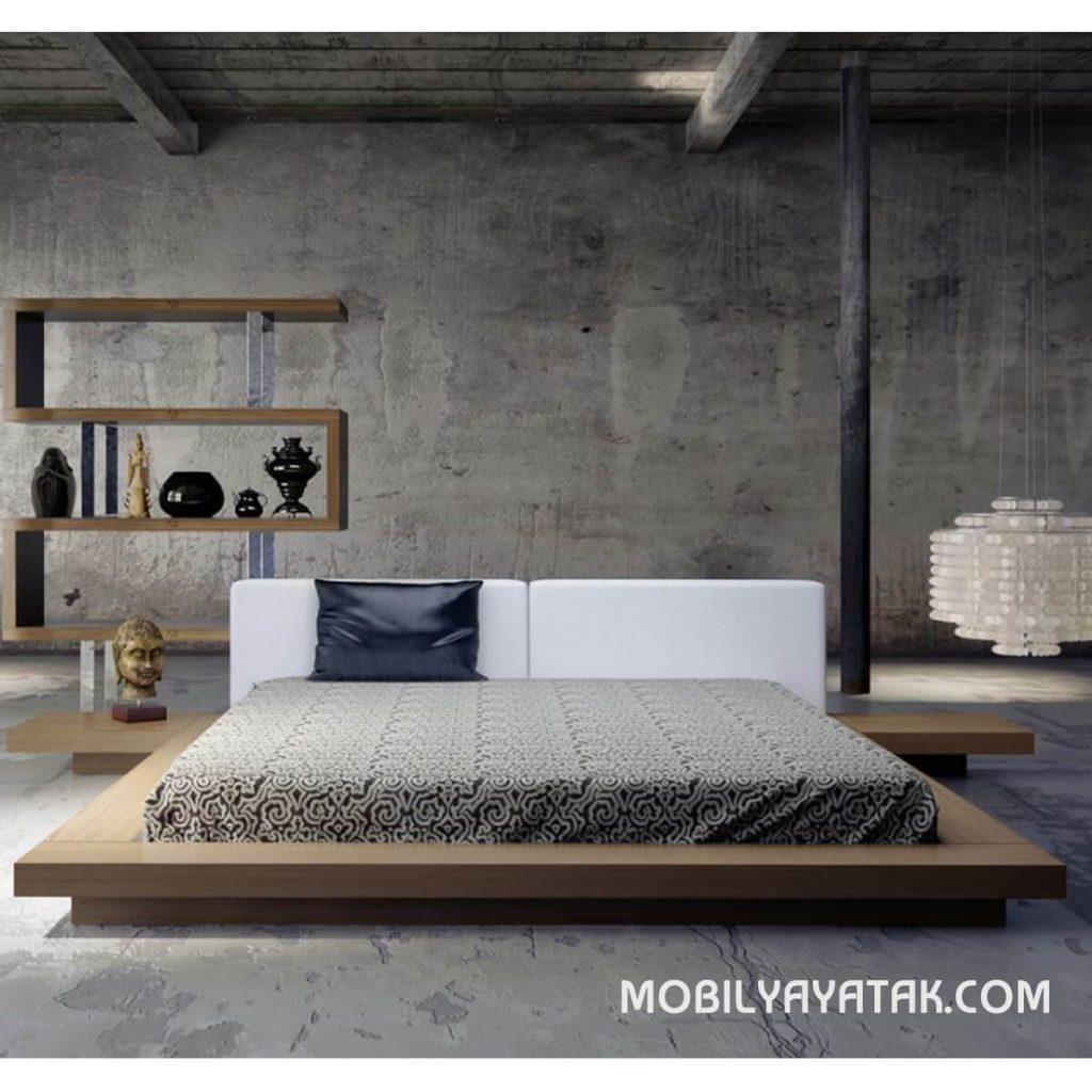 Meşe kaplama alçak karyola yatak modelleri
