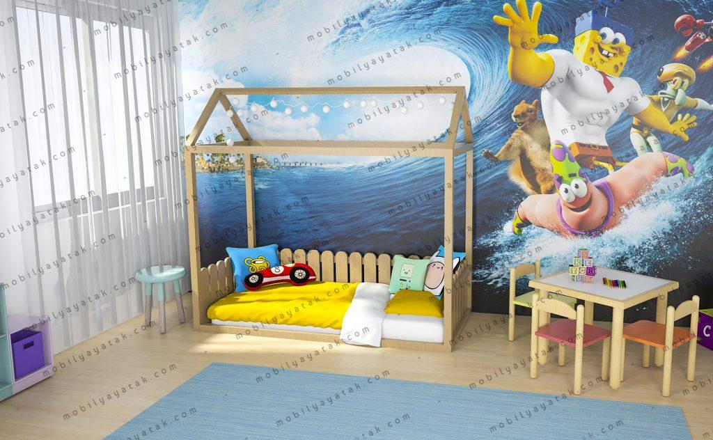 Montessori yatak ahşap doğal