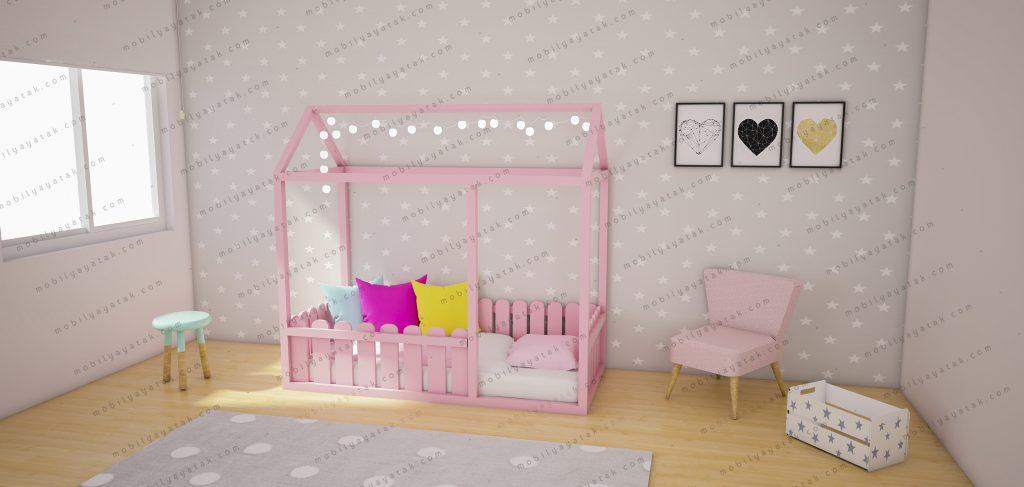 Montessori yatak pembe renk